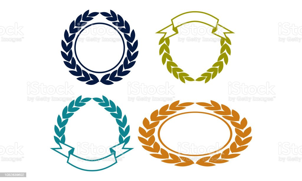 Blank Shield Ribbon Template Set Stock Vector Art More Images Of