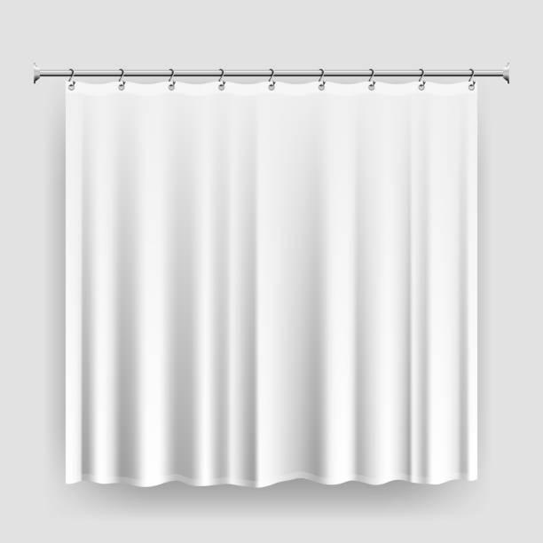 leere dusche vorhang vorlage oder mock-up - badezimmer stock-grafiken, -clipart, -cartoons und -symbole