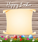 illustration of Blank sign in the grass field with decorated Easter eggs