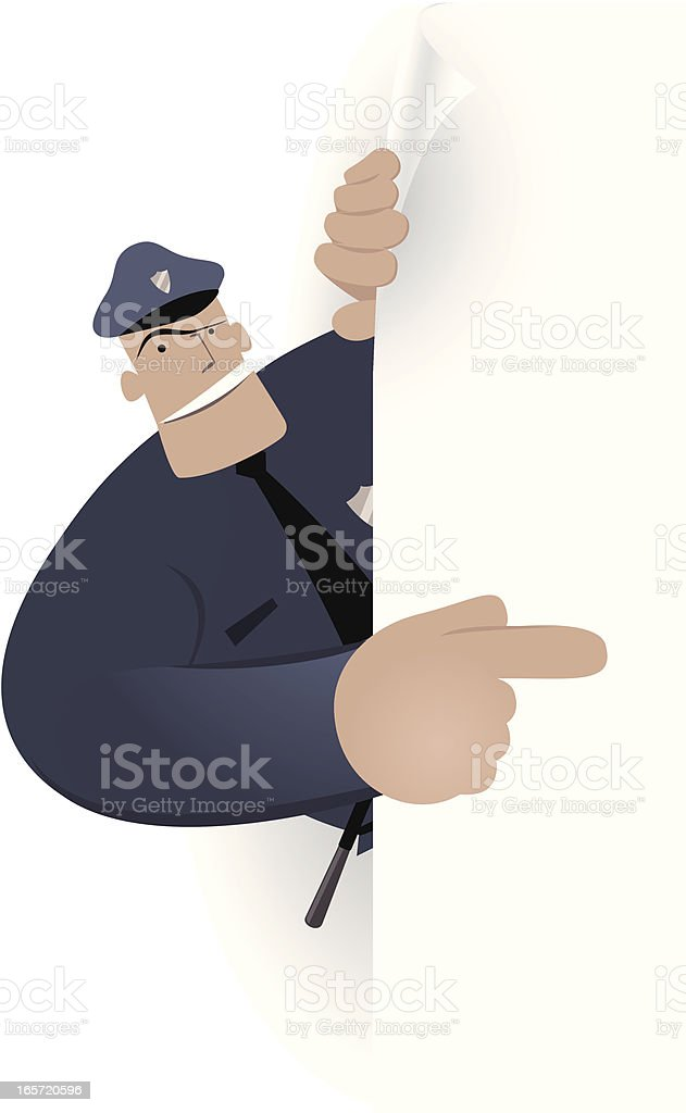 Blank sign - Police Officer pointing by index finger royalty-free stock vector art