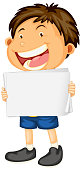 Blank sign template with cute boy on white background illustration