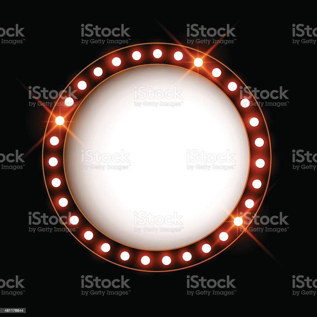Blank signboard with glowing shiny light bulbs, vector illustration vector art illustration