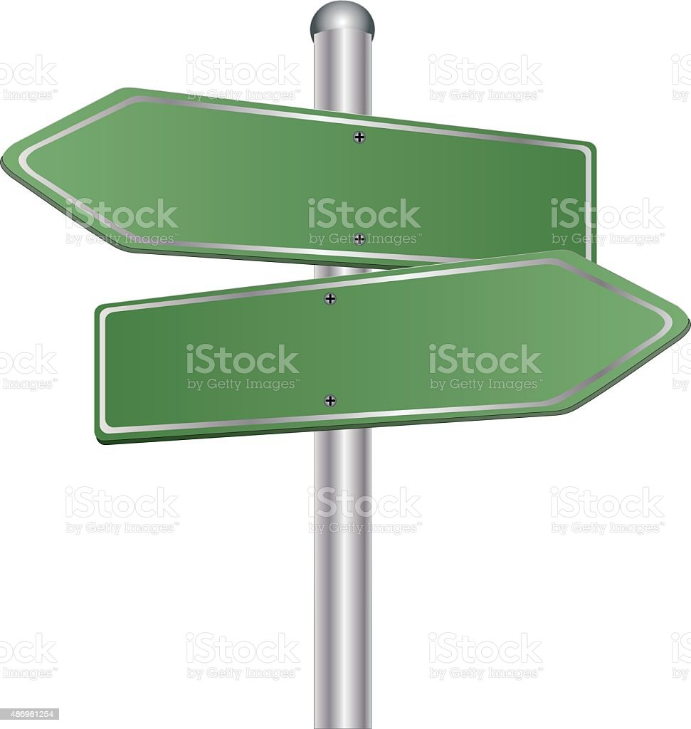 blank signs pointing in opposite directions vector art illustration