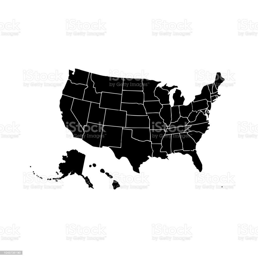 Blank Map Of Florida.Blank Similar Usa Map Isolated On White Background United States Of