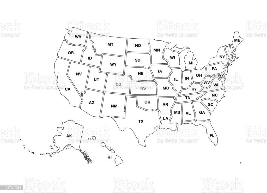 Blank Similar Usa Map Isolated On White Background United ...