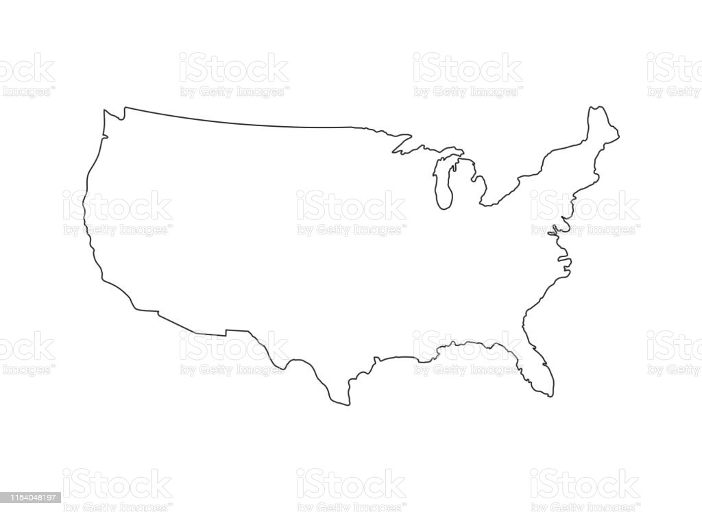Blank Similar Usa Map Isolated On White Background United ...