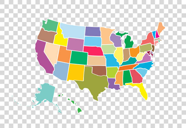 Blank similar USA map isolated on white background. United States of America country. Vector template for website, design, cover, infographics. Graph illustration. Blank similar USA map isolated on white background. United States of America country. Vector template for website, design, cover, infographics. Graph illustration. southern usa illustrations stock illustrations