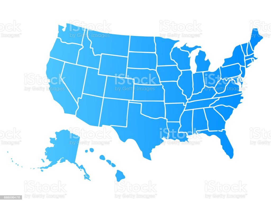 Blank Similar Usa Map Isolated On White Background United States