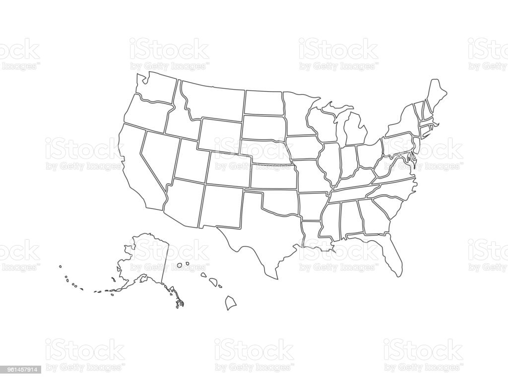 Blank Similar Usa Map Isolated On White Background United States Of ...