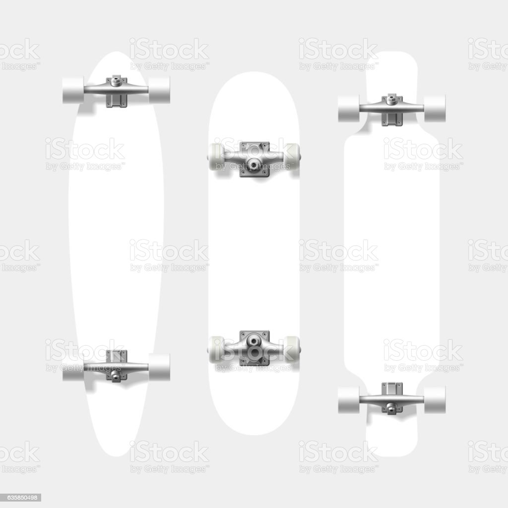 Blank skateboard and longboard shapes vector art illustration