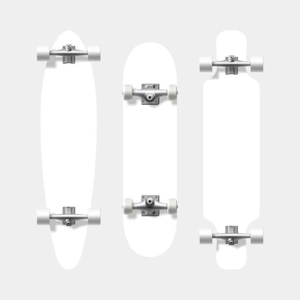 ilustraciones, imágenes clip art, dibujos animados e iconos de stock de blank skateboard and longboard shapes - monopatín
