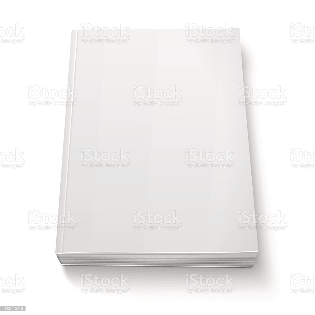 Blank softcover book template on white. vector art illustration