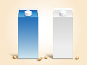 Blank soy milk carton boxes set in 3d illustration with soybeans