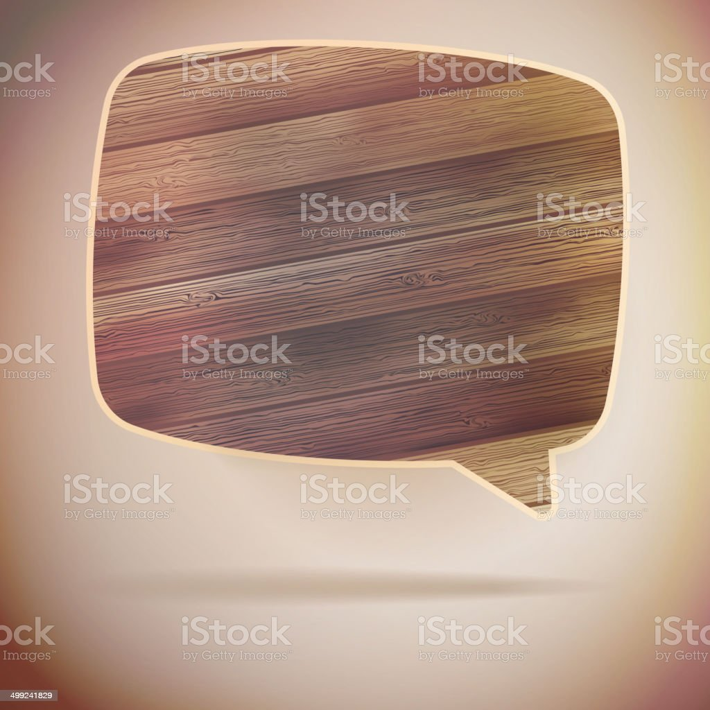 Blank Speech Bubble on wood background. EPS10 royalty-free stock vector art