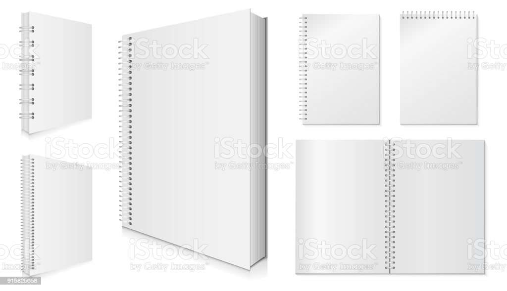 Blank Spiral Notebook Vector Set.
