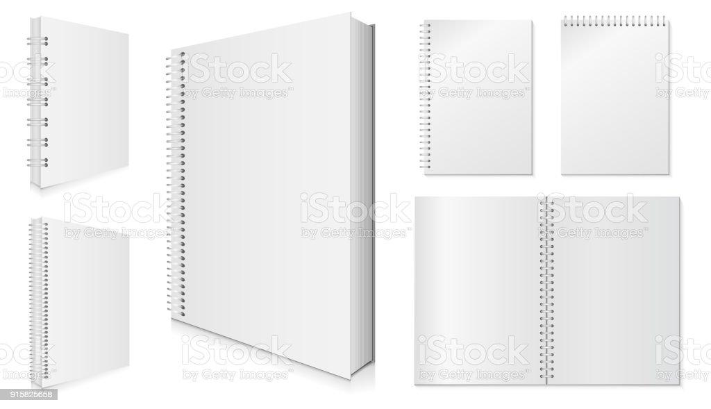 Blank Spiral Notebook Vector Set. vector art illustration
