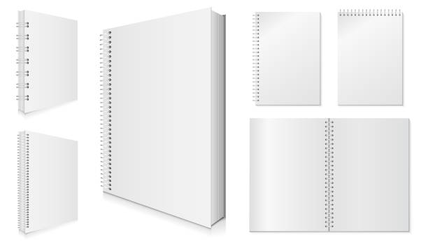 blank spiral notebook vector set. - note pad stock illustrations