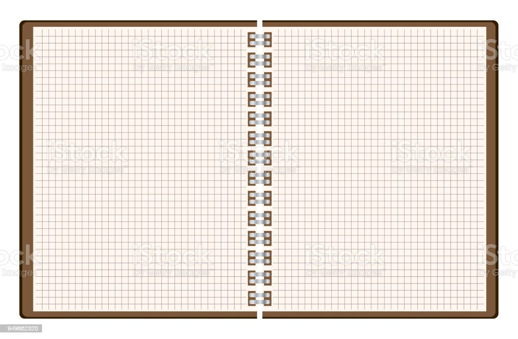Blank Spiral Notebook With Squared Pages Template Vector