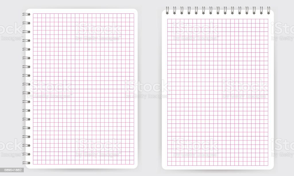 Blank Spiral Notepad Notebook Thin Squared Math Grid Lines Stock ...