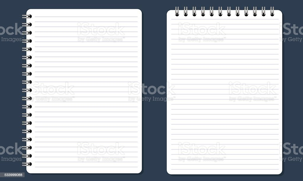 Blank spiral notepad notebook with lines. Flat color and Isolated. vector art illustration