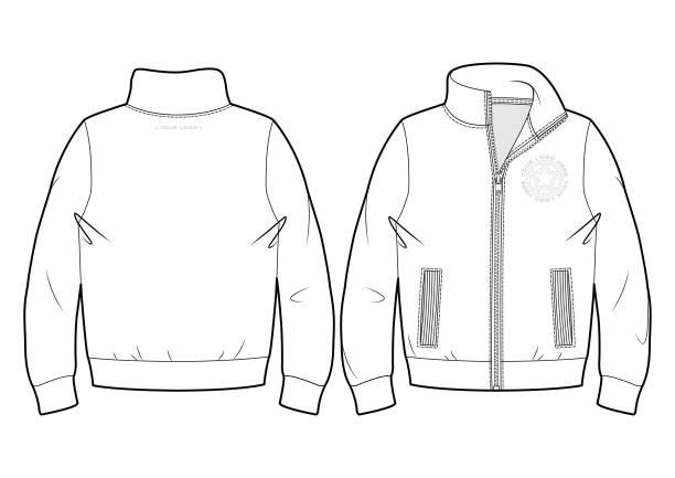 illustrazioni stock, clip art, cartoni animati e icone di tendenza di blank sport sweatshirt - giacca