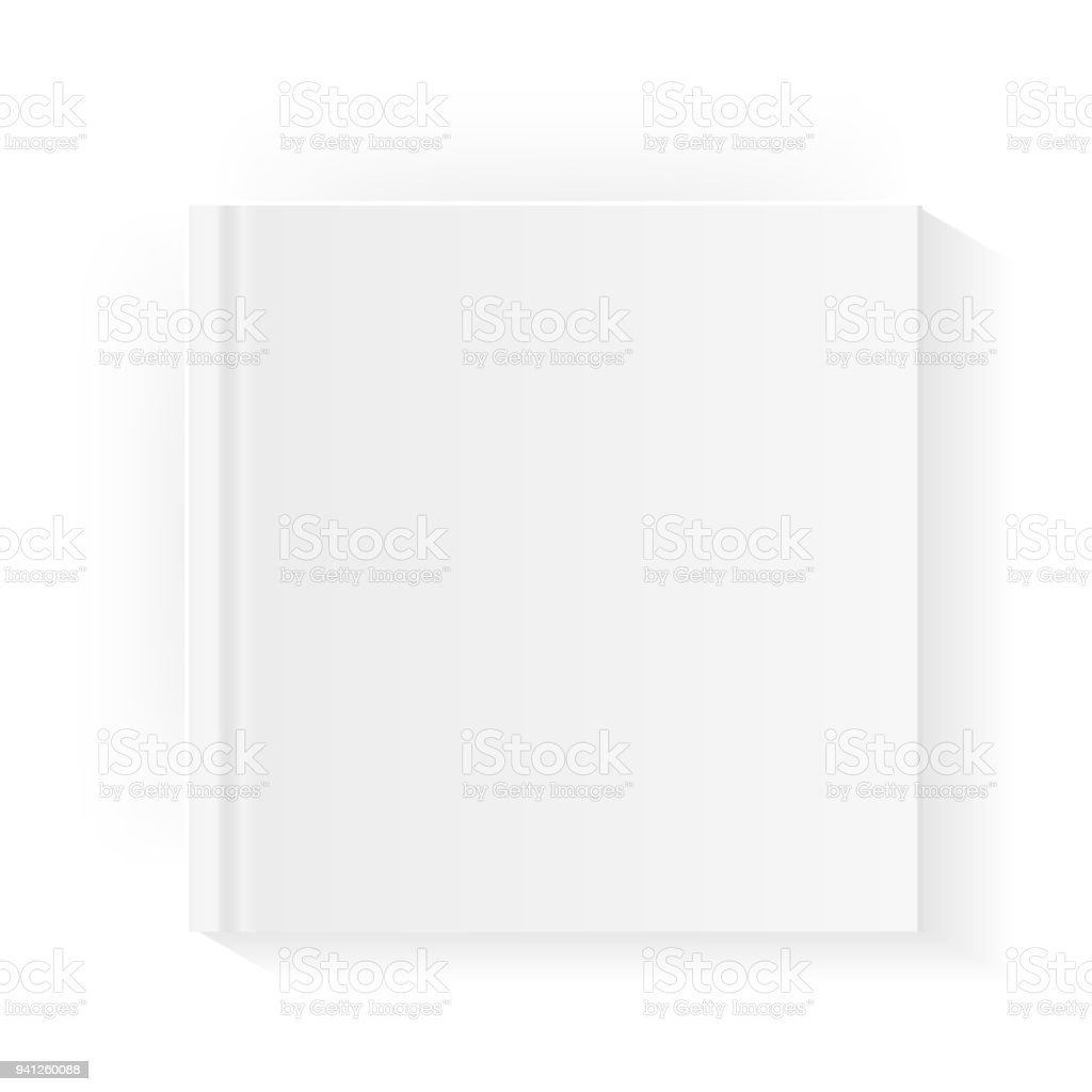 blank square book cover template mock up closed magazine or notebook