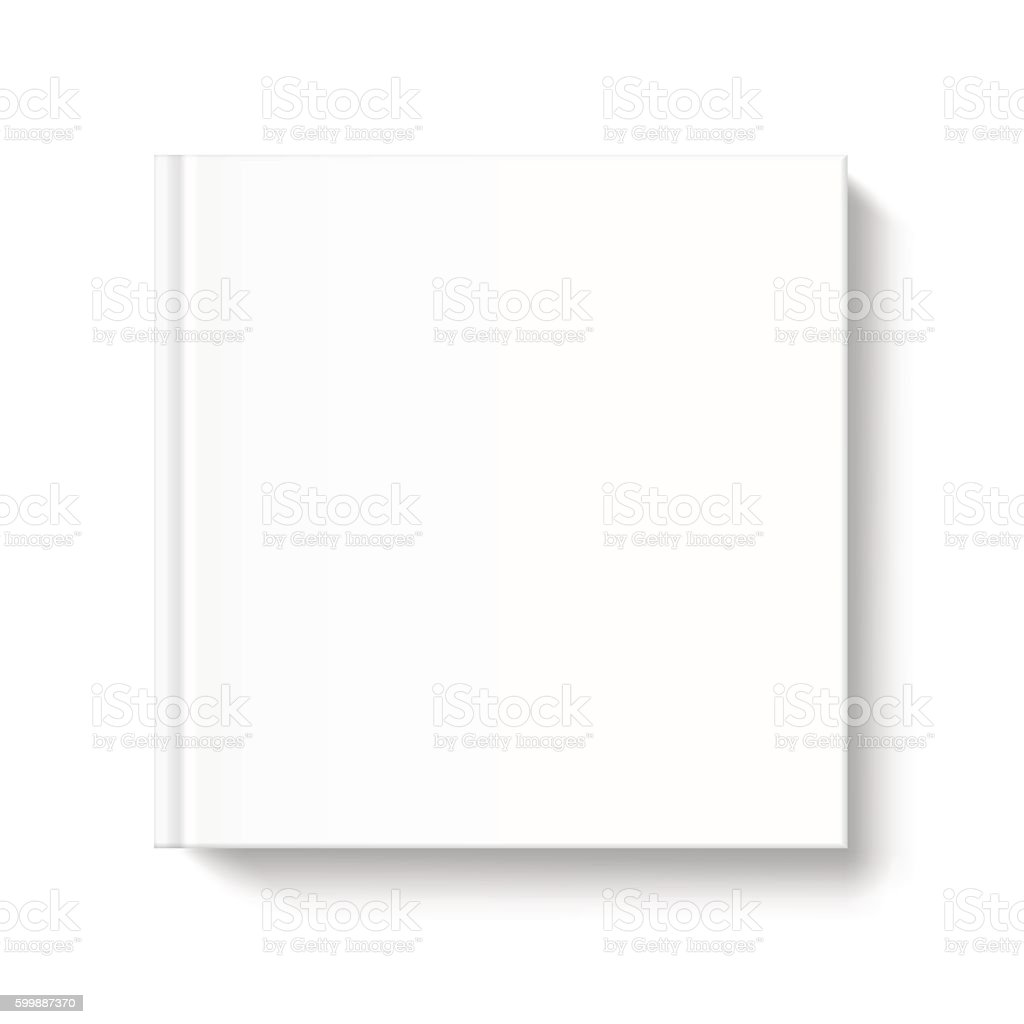 blank square book cover template on white background stock