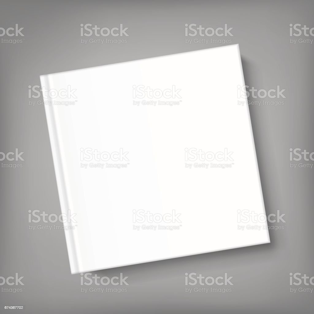 Blank square cover book template on grey background vector art illustration