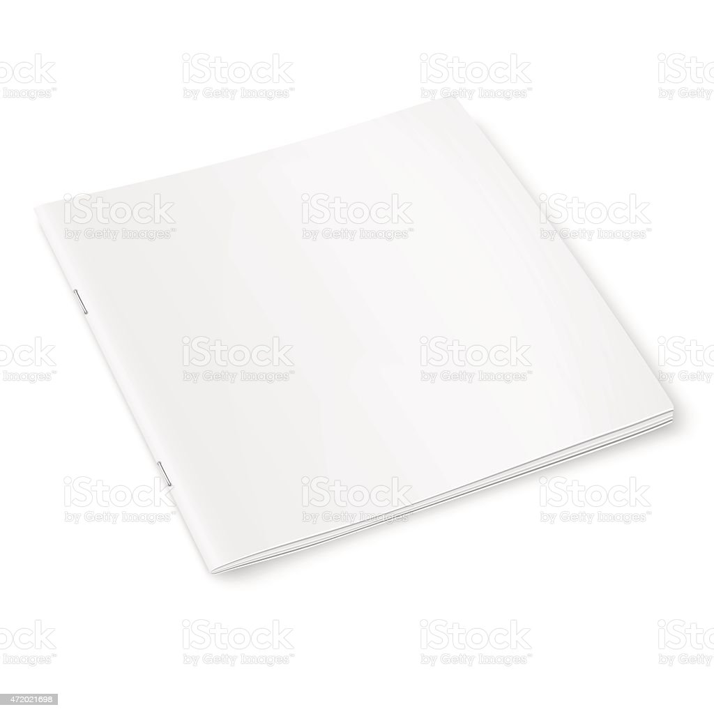Blank square pages stapled together with soft shadows vector art illustration