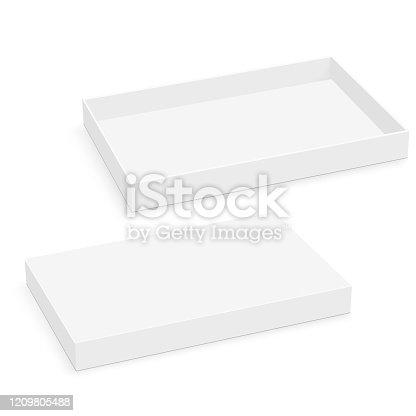Blank square thin box mockup. Vector.