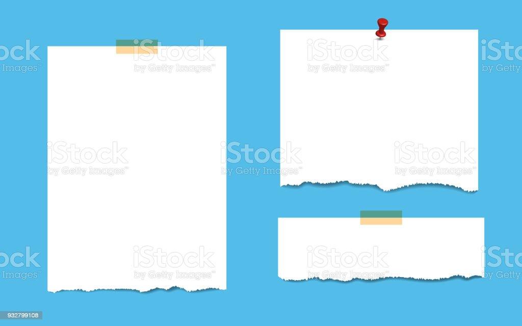 Ilustración de Páginas De Bloc De Notas En Blanco Cuadrado Con Cinta ...