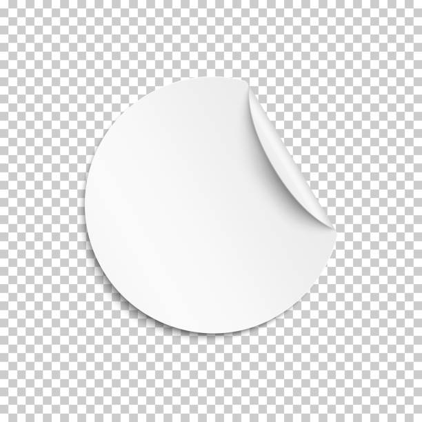 blank sticker, empty promotional label, white round circle tag with curled corner. vector illustration. - naklejka stock illustrations