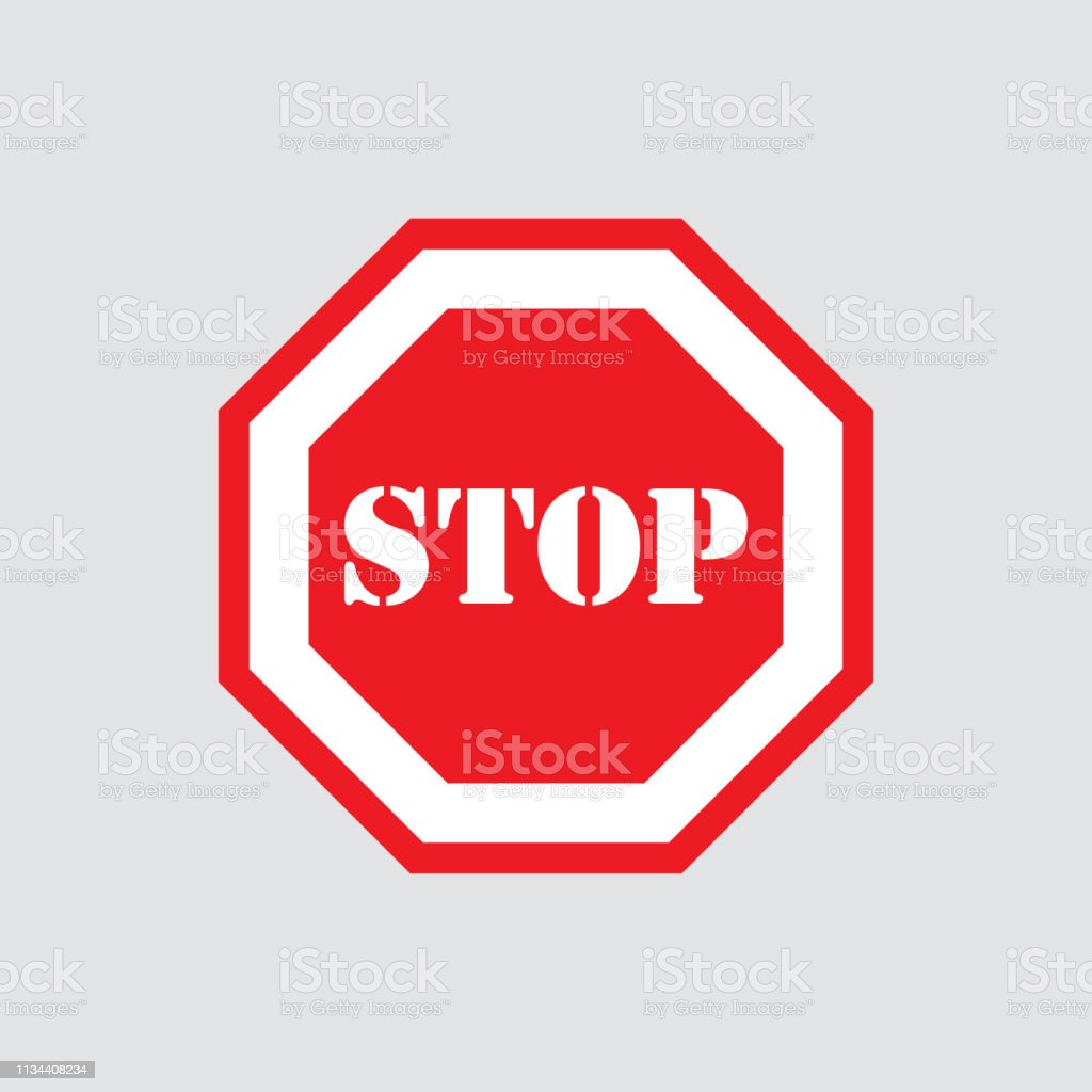 Blank Stop Sign Icon Stock Illustration - Download Image Now