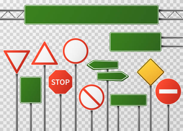 Blank street traffic and road signs vector set isolated vector art illustration