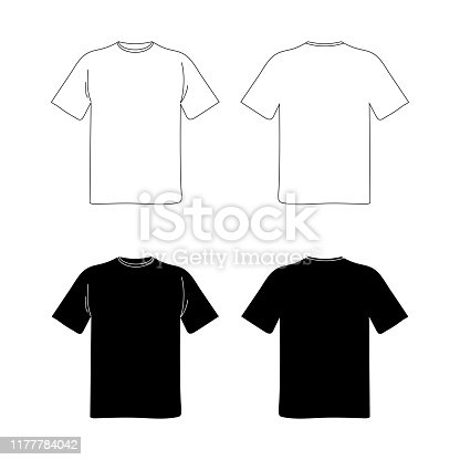 istock blank t shirt template. black and white vector image. flat illustration. front and back view mockup 1177784042