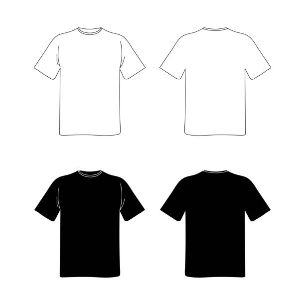 ilustrações de stock, clip art, desenhos animados e ícones de blank t shirt template. black and white vector image. flat illustration. front and back view mockup - teeshirt template