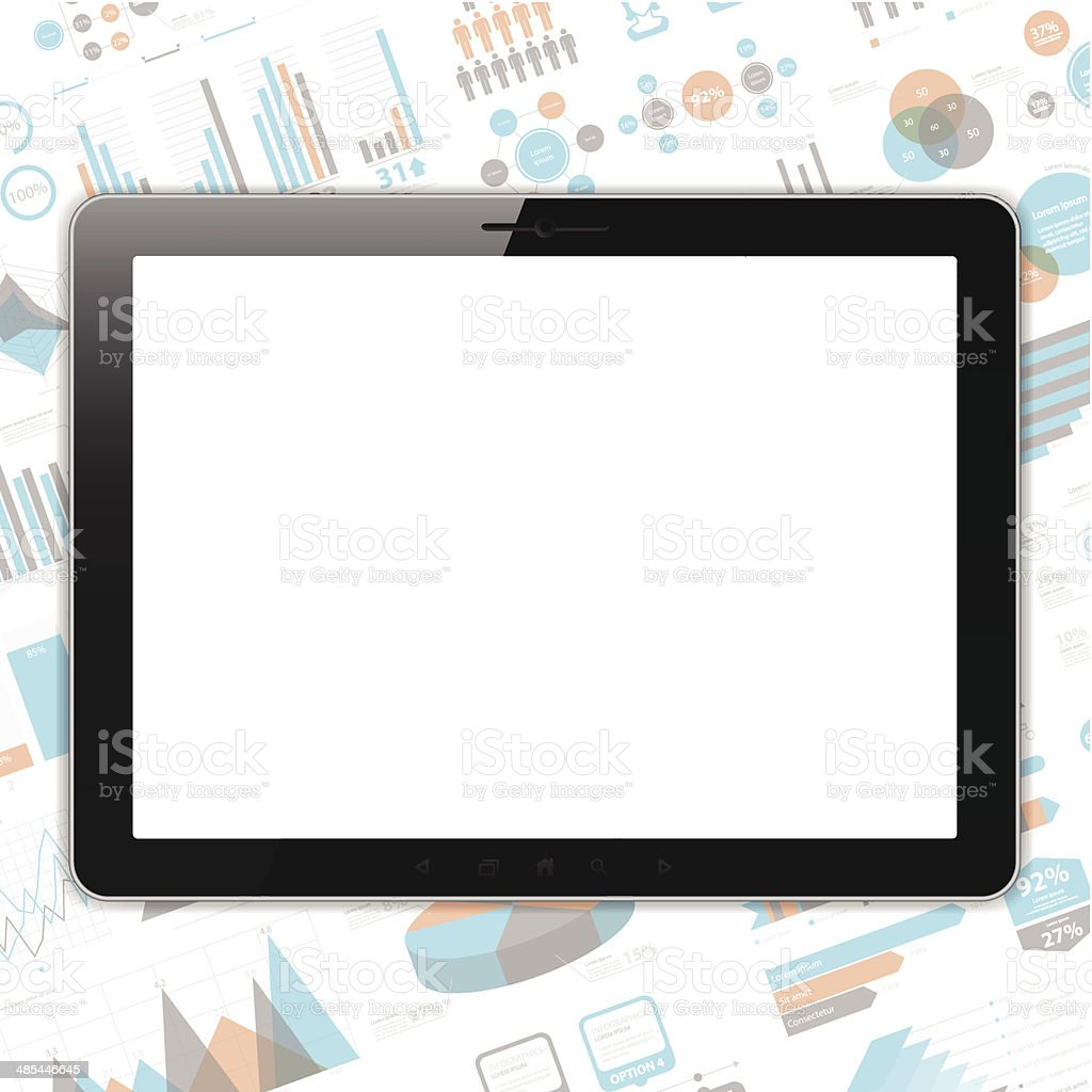 Blank tablet pc, horizontal position on infographic Background. royalty-free stock vector art