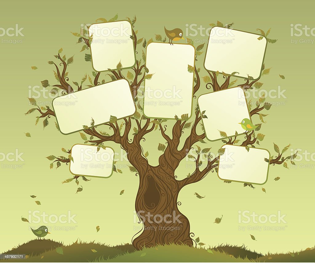 Blank tablets on a tree royalty-free stock vector art