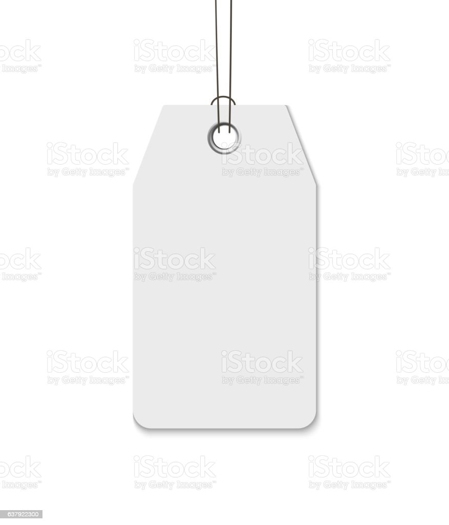 Blank tag with string isolated on white background. Price, gift vector art illustration