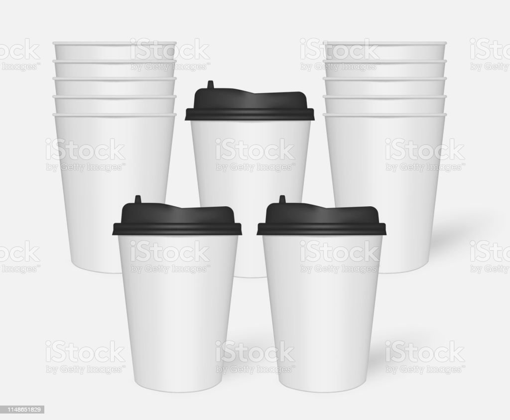 Blank Takeaway Drink Mug Stack Paper Coffee Cups Mockup Stock Illustration Download Image Now Istock
