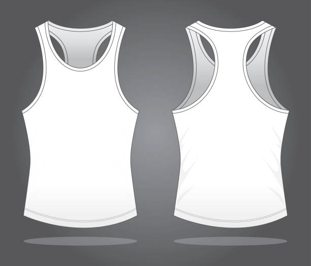 Blank Tank Top for Template White Color tank top stock illustrations