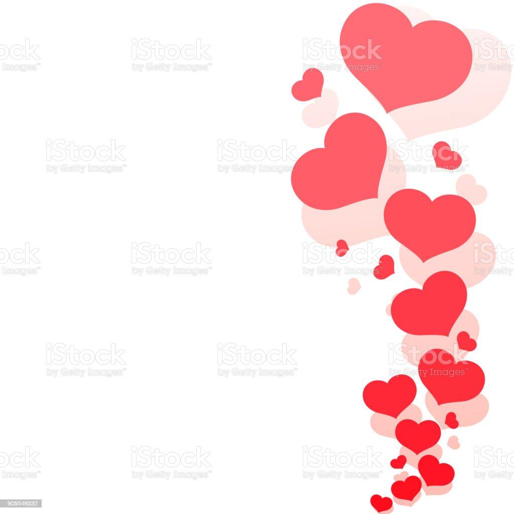 Leere Vorlage Karte Mit Roten Herzen Auf Einem Romantischen Weißen ...