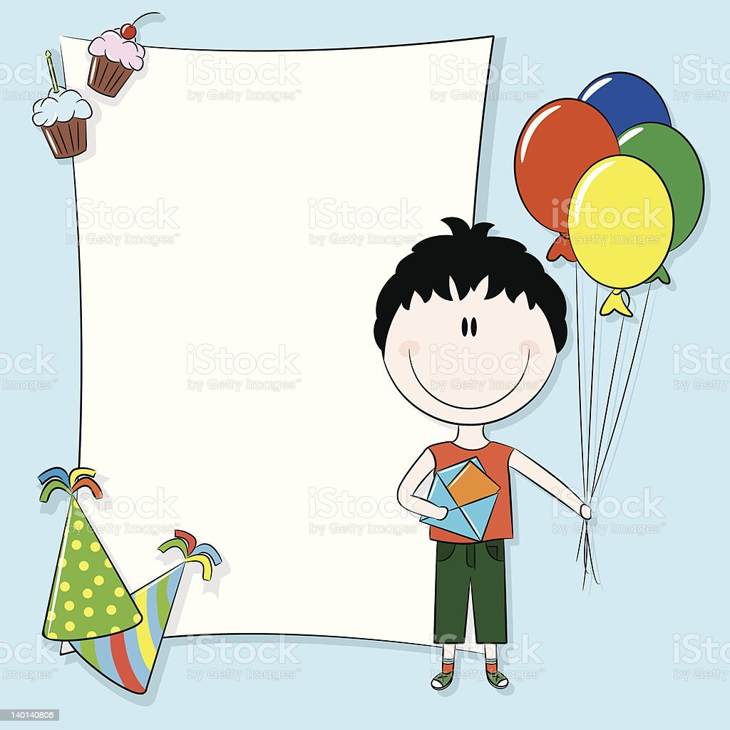 Blank Template For Birthday Card Or Party Invitation Stock