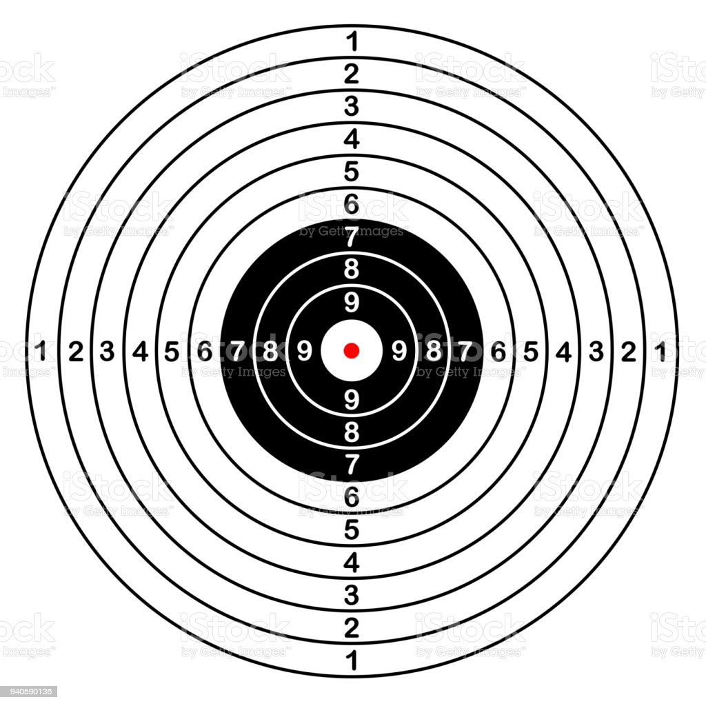 Blank template for sport target vector shooting competition. Clean target with numbers for set shooting range or pistol shooting. large isolated target vector art illustration