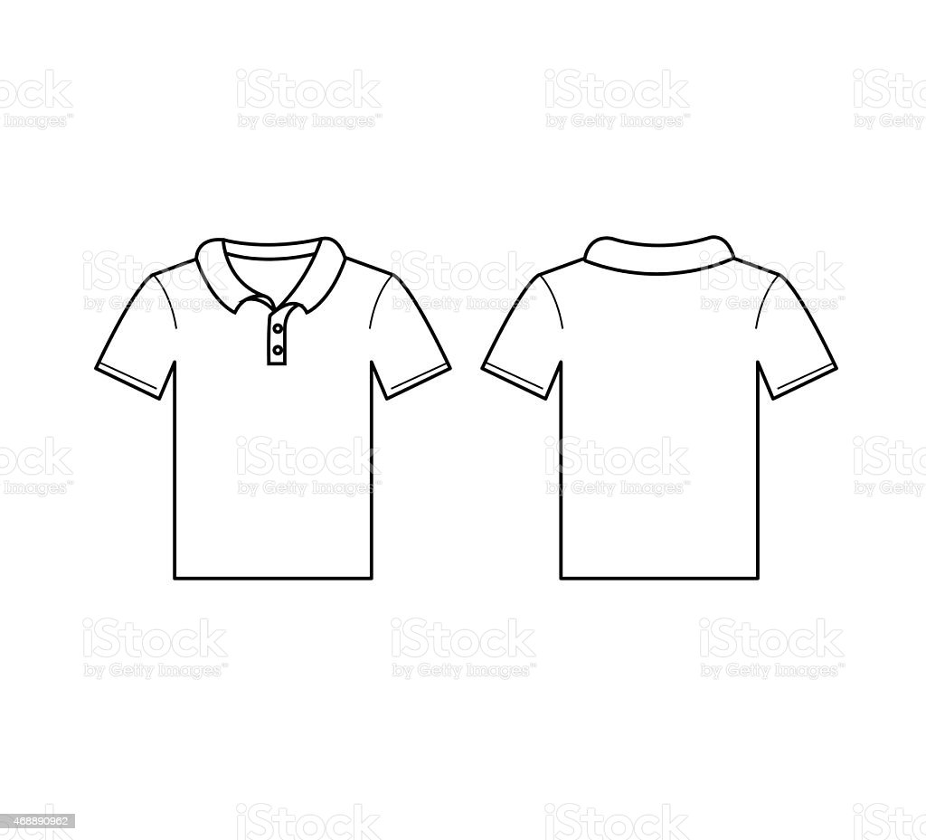 Blank template for the front and back of white polo shirt vector art illustration