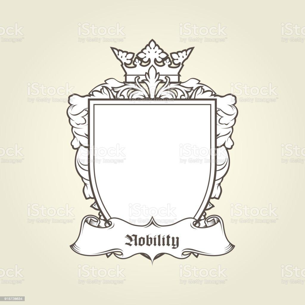 Leere Vorlage Wappen Schild Mit Krone Und Banner Heraldische Wappen ...