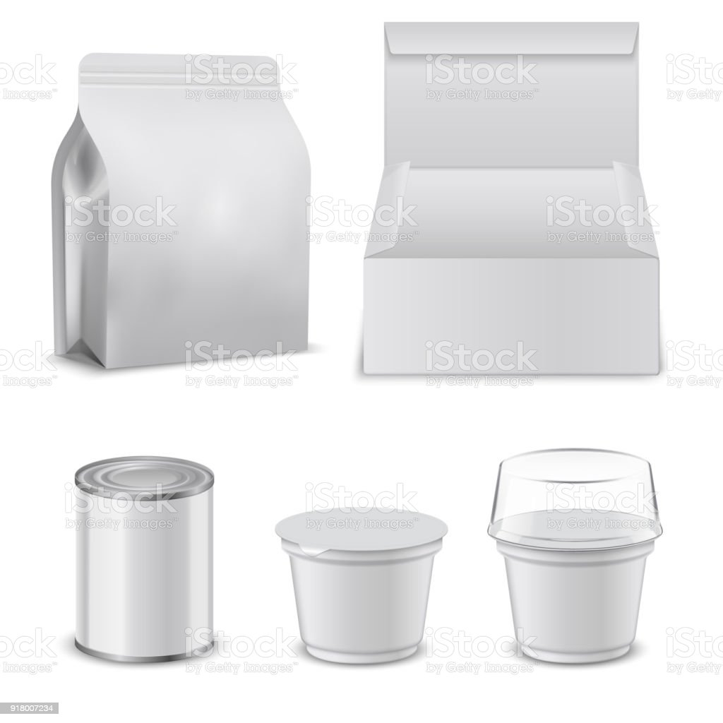 Blank Template Of Food Boxes And Plastic Containers Design Mockup