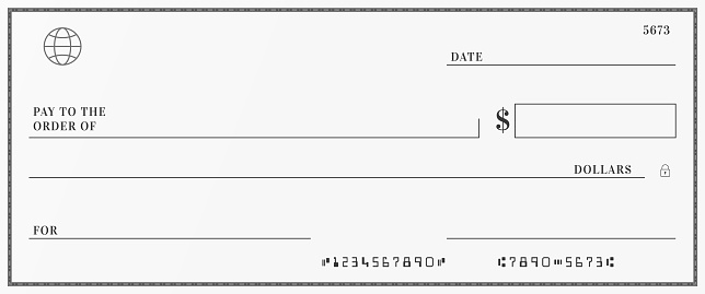 Blank template of the bank check. Checkbook cheque page with empty fields to fill.
