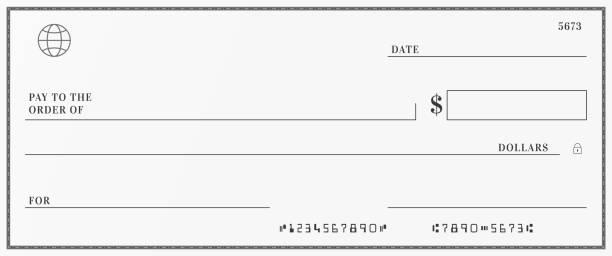 illustrazioni stock, clip art, cartoni animati e icone di tendenza di blank template of the bank check. checkbook cheque page with empty fields to fill. - bolletta