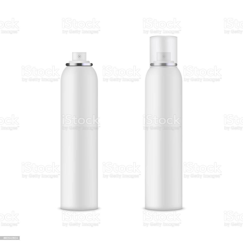 Leere Vorlage Des Weißen Deo Flasche Mockup Aerosolvektor Stock ...